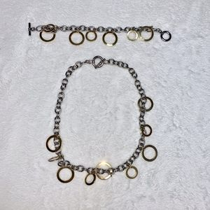 Silver and Gold Colored Necklace and Bracelet Set